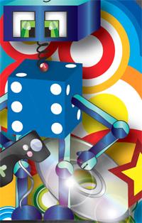 close-up of robot and cd artwork